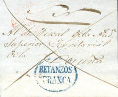 """D.P. 16. 1842. Frontal Circulado De Betanzos A Coruña. Marca """"""""BETANZOS / FRANCA"""""""" P.E. 7 . Muy Rara. - ...-1850 Vorphilatelie"""