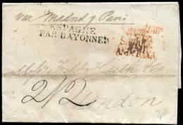 D.P. 25. Carta Circulada De Gibraltar A Londres, Vía París, El Año 1824. - Spanje