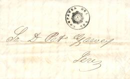 """D.P. 26. 1847. Carta De Cádiz A Jerez. Marca De Cosario """"""""Compañía Del Sol"""""""". Muy Bonita. - Spain"""