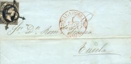 Ø 6 En Carta De Calahorra A Tudela, El 7/09/1851. Fechador Baeza En Rojo. Lujo. - 1850-68 Königreich: Isabella II.