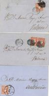 Ø 48 En 3 Cartas De Alicante A Valencia. Distintos Matasellos R.C. 9, Fechador Y Parrillas E Negro Y Azul. Muy Interesan - 1850-68 Kingdom: Isabella II