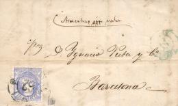 "Ø 107 En Carta Fechada En Tuy, El 6 Abril De 1870, A Barcelona. Mat. R.C. """"62"""". Rara. Firmada Graus. - Cartas"