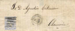 Ø 107 En Envuelta Circulado A Olaveria, El Año 1871. Mat. Barras Especiales. Rarísimo. - Cartas