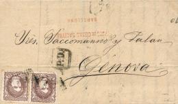 Ø 108(2) En Carta De Barcelona A Génova, El Año 1871. Bonita. - Cartas