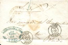 """1872. Envuelta Del S.N. De Doble Uso Tineo/Oviedo Y Sevilla. Marca En Verde """"""""Administración De Rentas De Tineo"""""""". Muy R - Cartas"""