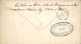 """1873. Guerra Carlista. Carta De Valencia De Las Torres (Badajoz) A Madrid. Manuscrito Al Dorso """"""""Certifico No Haber Sell - Cartas"""