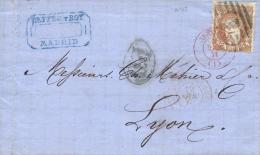 Ø 113 En Carta De Madrid A Lyon, El Año 1870. Al Dorso Tránsito Y Llegada. Bonita. - Cartas