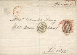 Ø 113 En Envuelta De Madrid A Lyon, El Año 1870. Ligera Rotura. - Cartas
