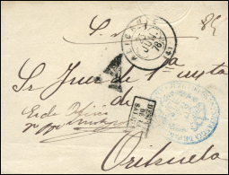"""1878. Frontal Del Carta Del S.N. Circulada De Alicante A Orihuela. """"""""A"""""""" En Negro Y """"""""DESPUES / DE LA / SALIDA"""""""". Muy Ra - 1875-1882 Reino: Alfonso XII"""