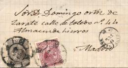 Ø 192 Y 188 En Carta Circulada De Manzanares A Madrid. Mat. R.C. De Manzanares. Rarísimo Uso Tan Tardío. - 1875-1882 Koninkrijk: Alfonso XII