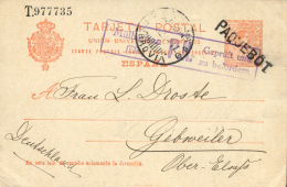 Ø E.P. 53. Circulado A Alemania. Matasellos Paquebot, Fechador De Génova/Ferrovía. Muy Raro. - Enteros Postales