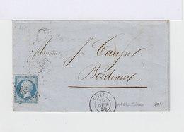 Sur Lettre Napoléon III 20 C. Bleu Type I. Oblitéré Losange  (583) - Marcophilie (Lettres)
