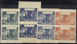 """MADRID. Sellos Sin Dentar """"""""Depósitos"""""""": 10 Ptas. Verde, 10 Ptas. Azul, 40 Ptas. Azul Y 100 Ptas. Castaño-naranja - Fiscales"""