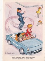 "CPSM Pin-up Sexy Voiture Automobile ""Faire La Folle"" Gendarme Policier Illustrateur A. RAGINEL - Andere Illustrators"