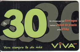 BOLIVIA - Viva Prepaid Card Bs.30 Exp.date 01/04/04, Used - Bolivia