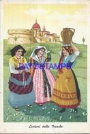 95861 ITALY ART ARTE SIGNED MARCAS ANCONA COSTUMES WOMAN'S WITH VASE POSTAL POSTCARD - Italia