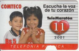 BOLIVIA - Escucha La Voz De Tu Corazon, TeleMaraton 2001, Comteco Telecard Bs.5, Tirage 50000, 10/01, Used - Bolivia