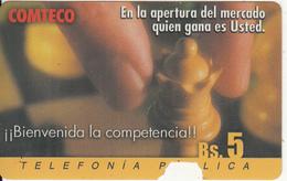 BOLIVIA - Chess, Bienvenida La Competencia, Comteco Telecard Bs.5, 10/01, Used - Bolivia