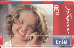 BOLIVIA - Little Girl On Phone, Movil De Entel Prepaid Card Bs.30, Exp.date 26/04/06, Used - Bolivia