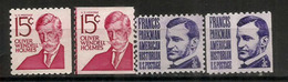 American Physician Oliver Wendell Holmes & Francis Parkman,American Historian, Including Coil Stamps ** - Medicine