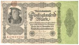 Billets >  Allemagne >  50000 Mark 1922 - [ 3] 1918-1933 : Repubblica  Di Weimar