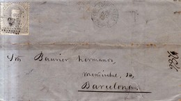 Año 1872 Edifil 122 12c Sello Amadeo I Carta Matasellos Rombo Torrelavega Santander - Gebraucht