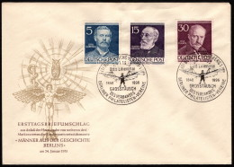 BER SC #9N85, 9N89, 9N92 (Mi 92, 96, 99) 1953 Lilienthal, Virchow, Planck  FDC 01-24-1953 - FDC: Covers