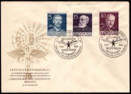 BER SC #9N85, 9N89, 9N92 (Mi 92, 96, 99) 1953 Lilienthal, Virchow, Planck  FDC 01-24-1953 - [5] Berlin