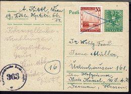 AUTRICHE - 1945-47 - Carte Entier Postal 5g + 30g De Wien Vers Hofgeismar, Avec Contrôle De Censure Locale - B/TB - - Entiers Postaux