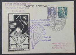 """France - Carte """"Exposition Philatélique Prisonniers"""" """"Essai De Parachutage"""" + Timbres YT N°673 Et 713 - 1946 - 1921-1960: Période Moderne"""