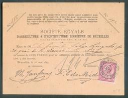 N°46 - 10 Cent. Obl. Sc SCHAERBEEK-DEUX PONTS  (BRUX) Sur Carte Société Royale D'Agriculture Et D'Horticulture Linnéenne - 1884-1891 Léopold II