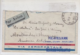 AIRMAIL CIRCULEE PARIS TO MONTEVIDEO URUGUAY CIRCA 1931 BANDELETA PARLANTE BLOCK STAMP - BLEUP - 1927-1959 Storia Postale