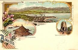 CORSE - AJACCIO -- Lot X 2 Cartes Litho Des Ed. Suisses KUNZLI - Pionnières 1900 - Ajaccio