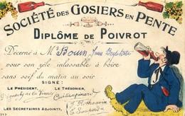 Societe Des Gosiers En Pente - Diplome De Poivrot - Alcoolisme - Humor