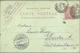 CARTE POSTALE  1905  NICE A DRESDEN ALEMANIA - Postales Tipos Y (antes De 1995)