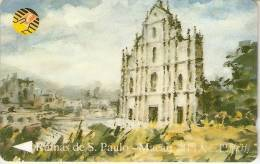 TARJETA DE MACAO DE UNA IGLESIA EN RUINAS  (CHURCH) - Télécartes
