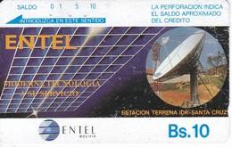 TARJETA DE BOLIVIA DE ENTEL DE UNA ANTENA PARA  SATELITES (SATELLITE) - Bolivia