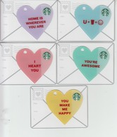 5 X Germany Starbucks Card Valentine's Mini Set 2014   Limited Edition 2014 - Gift Cards