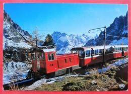 Cpm 74 CHAMONIX Petit Train Au Depart De La Gare Du Montenvers - Eisenbahnen