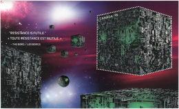 BORG CUBE = STAR TREK = Embossed Souvenir Sheet From Prestige Booklet Canada 2017 - Raumfahrt