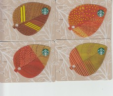 4 X Germany Starbucks Card Leaves Blätter   Limited Edition 2014 - Gift Cards