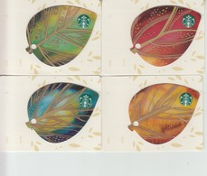 4 X Germany Starbucks Card Leaves Blätter   Limited Edition 2015 - Gift Cards