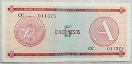 Billete Cuba. 5 Pesos. Serie A. 1985. Certificado De Divisa. Banco Nacional De Cuba - Cuba