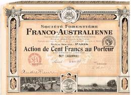 Action Ancienne - Société Forestière Franco-Australienne - Titre De 1921 - Titre N° 42991 - Landbouw