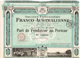 Action Ancienne - Société Forestière Franco-Australienne - Titre De 1921 - Titre N° 02496 - Landbouw