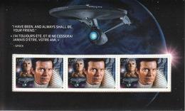 = STAR TREK = ADMIRAL JAMES T.KIRK - WILIAM SHATNER Souvenir Sheet Of 3 Stamps From PRESTIGE Booklet, MNH Canada 2017 - Spazio