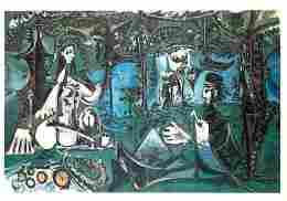 Art - Peinture - Pablo Picasso - Le Déjeuner Sur L'herbe D'après Manet - Voir Scans Recto-Verso - Paintings