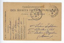 Kriegsgefangenensendung Prisonniers De Guerre Correspondance Des Armées De La République 1916 6ème Chasseur - Guerra 1914-18