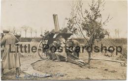 Foto AK Abwehrgeschütz Bei Der Beschiessung Eines Fliegers 1918 Flak Kanone Mit Beobachter Stempel Inf. Regt. 377 - Guerre 1914-18