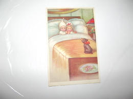 CPA Couple D'enfant Dans Lit Avec Chien  édition Italie M N°1923-4 Top Carte - Colombo, E.